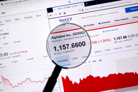 MONTREAL, CANADA - JUNE 22, 2018: Alphabet Inc GOOG ticker with shares price and charts under magnifying glass on Yahoo Finance.