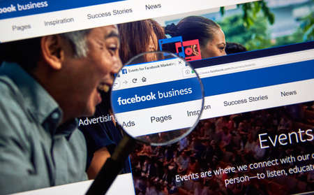 MONTREAL, CANADA - SEPTEMBER 8, 2018: Facebook Business page. Facebook Business gives the latest news, advertising tips, best practices and case studies for using Facebook to meet business goals.