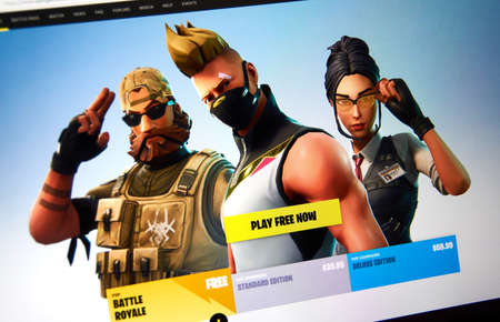MONTREAL, CANADA - SEPTEMBER 8, 2018: Fortnite video game official site on a PC screen. Fortnite is a popular online video game created in 2017, developed by Epic Games