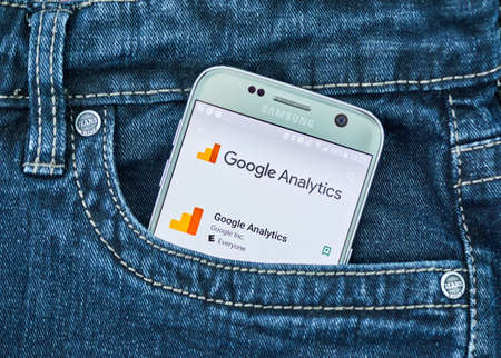 MONTREAL, CANADA - SEPTEMBER 8, 2018: Google Analytics mobile app. Google Analytics is a freemium web analytics service offered by Google that tracks and reports website traffic