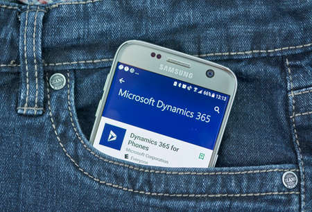 MONTREAL, CANADA - SEPTEMBER 8, 2018: Microsoft Dynamics 365 for phones mobile. Dynamics 365 is a product line of enterprise resource planning and customer relationship management Redactioneel