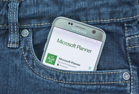 MONTREAL, CANADA - SEPTEMBER 8, 2018: Microsoft Planner app. Planner provides a simple, visual way to organize teamwork. Planner makes it easy for teams to create new plans,