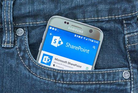 MONTREAL, CANADA - 8 SETTEMBRE 2018: App mobile Microsoft SharePoint. Microsoft SharePoint è una piattaforma di collaborazione e gestione dei documenti basata su browser di Microsoft Editoriali