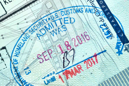 MONTREAL, CANADA - SEPTEMBER 8, 2018: USA Homeland Security Admitted stamp in Canadian passport.