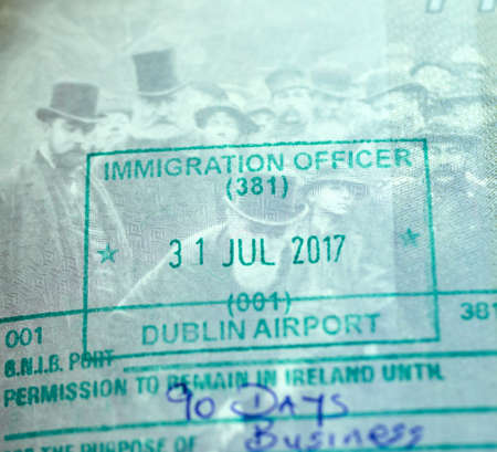 MONTREAL, CANADA - SEPTEMBER 8, 2018: Immigration Officer stamp in Canadian passport from Dublin Airport, Ireland
