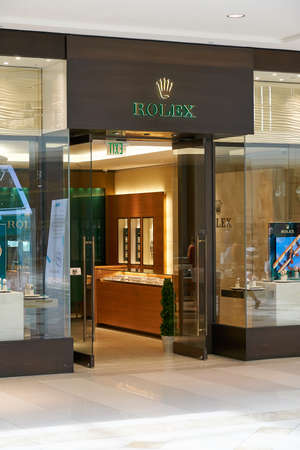 AVENTURA, USA - AUGUST 23, 2018: Rolex famous boutique in Aventura Mall. Rolex is a Swiss luxury watchmaker company Editorial