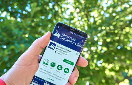 MONTREAL, CANADA - August 28, 2018: Microsoft Dynamics CRM android app on Samsung s8 screen.