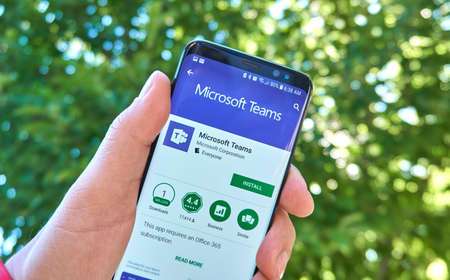 MONTREAL, CANADA - August 28, 2018: Microsoft Teams android app on Samsung s8 screen.