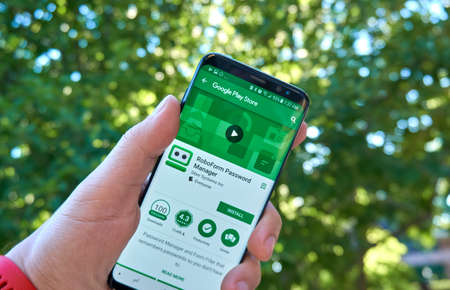 MONTREAL, CANADA - August 28, 2018: Roboform Password Manager android app on Samsung s8 screen in a hand.