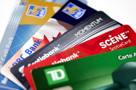 MONTREAL, CANADA - SEPTEMBER 21, 2018: Credit cards of different canadian banks. Scotiabank, RBC and TD