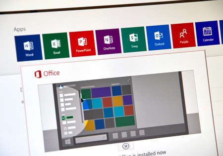 MONTREAL, CANADA - SEPTEMBER 8, 2018: Microsoft Office 365 installation procees on a desktop screen. Microsoft Office is a family of client and server software, the services developed by Microsoft
