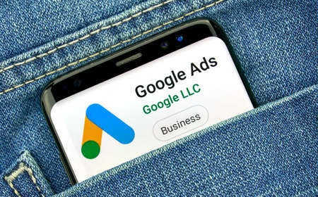 MONTREAL, CANADA - SEPTEMBER 30, 2018: Google Ads new logo and app on a Samsung s8 screen. Google Ads, formerly known as Adwords, is an online advertising platform developed by Google