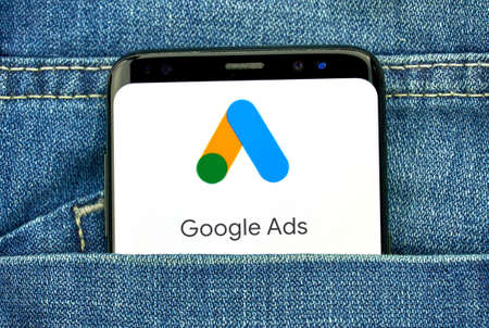 MONTREAL, CANADA - SEPTEMBER 30, 2018: Google Ads new logo and app on a Samsung s8 screen. Google Ads, formerly known as Adwords, is an online advertising platform developed by Google Stock Photo - 109528717