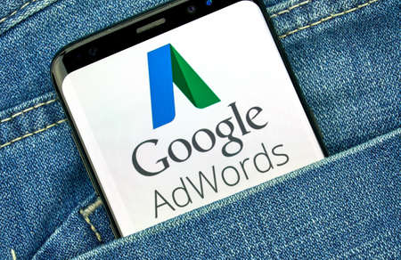 MONTREAL, CANADA - SEPTEMBER 30, 2018: Google Adwords old logo and app on Android cellphone screen. Google Ads, formerly known as Adwords, is an online advertising platform developed by Google Editorial