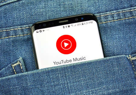 MONTREAL, CANADA - OCTOBER 4, 2018: Youtube Music, music streaming Google app on s8 screen. Google is an American technology company which provides a variety of internet services.