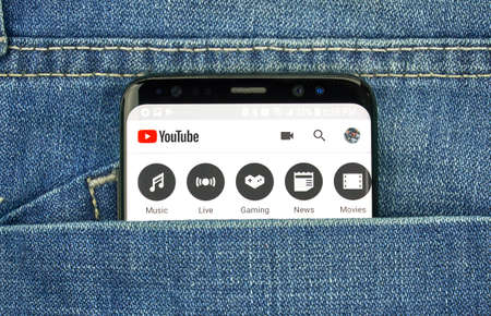 MONTREAL, CANADA - OCTOBER 4, 2018: Google Youtube app on s8 screen. Google is an American technology company which provides a variety of internet services.