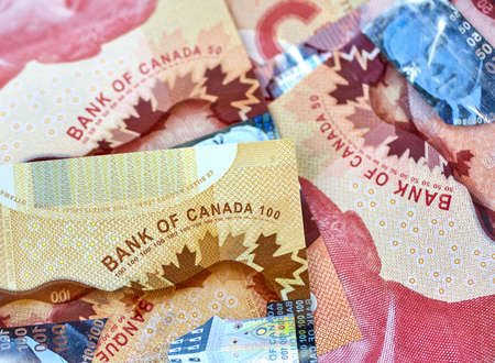 canadian money in a pocket of a blue jeans Stockfoto