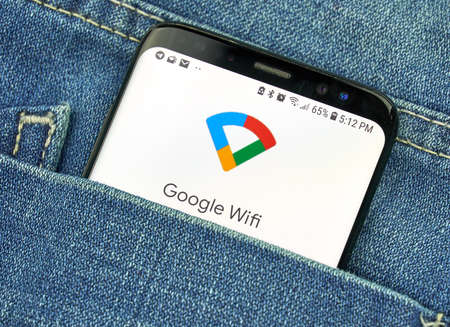 MONTREAL, CANADA - OCTOBER 4, 2018: Google WiFi app on s8 screen. Google Wifi is a wireless router and app. Google is an American technology company which provides a variety of internet services.