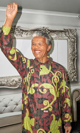 MONTREAL, CANADA - SEPTEMBER 23, 2018: Nelson Rolihlahla Mandela, South African anti-apartheid revolutionary and political leader. Wax museum Grevin in Montreal, Quebec, Canada
