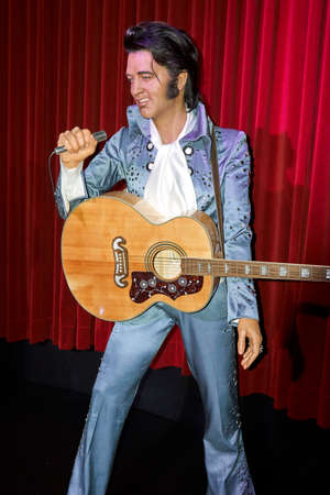MONTREAL, CANADA - SEPTEMBER 23, 2018: Elvis Aaron Presley - American singer and actor. Wax museum Grevin in Montreal, Quebec, Canada