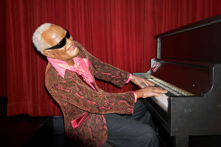 MONTREAL, CANADA - SEPTEMBER 23, 2018: Ray Charles, American singer, songwriter, musician, and composer Wax museum Grevin in Montreal Quebec Canada