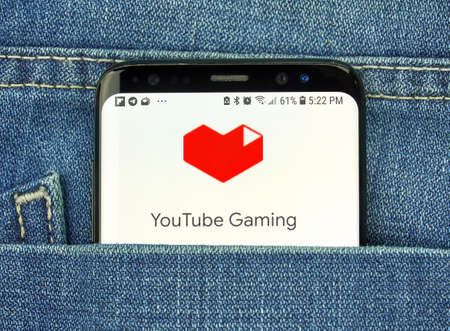 MONTREAL, CANADA - OCTOBER 4, 2018: Google YouTube Gaming app on s8 screen. Google YouTube Gaming app and service provides on-demand and live video game content. Editorial