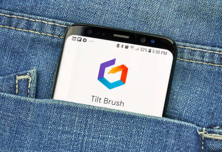 MONTREAL, CANADA - OCTOBER 4, 2018: Google Tilt Brush on s8 screen. Tilt Brush is a room-scale 3D painting VR app. Google is a American technology company which provides a variety of internet services