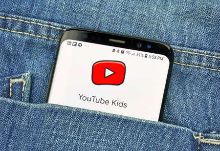 MONTREAL, CANADA - OCTOBER 4, 2018: Google Youtube Kids app on s8 screen. Google is an American technology company which provides a variety of internet services.