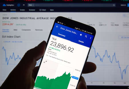 MONTREAL, CANADA - JANUARY 10, 2019: Dow Jones Industrial Average DJI Index chart. Dow Jones Industrial Average, is a stock market index that indicates the value of 30 large american companies.