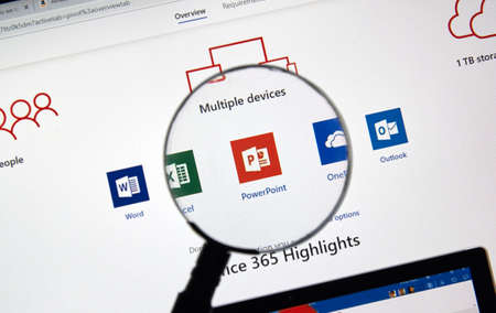 MONTREAL, CANADA - JANUARY 10, 2019: MIcrosoft Office 365 icons on a screen. Office 365 is the brand name Microsoft uses for a group of subscriptions for office software and services. Editorial