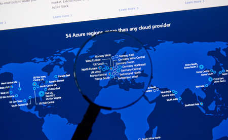 MONTREAL, CANADA - JANUARY 10, 2019: Microsoft Azure regions map on a pc screen under magnifying glass. Microsoft Azure is a cloud computing service created by Microsoft. Editorial