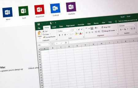 MONTREAL, CANADA - JANUARY 10, 2019: MIcrosoft Office 2019 Excel spreadsheet on a screen. Microsoft Office 2019 is the new version of Microsoft Office, a productivity suite, succeeding Office 2016