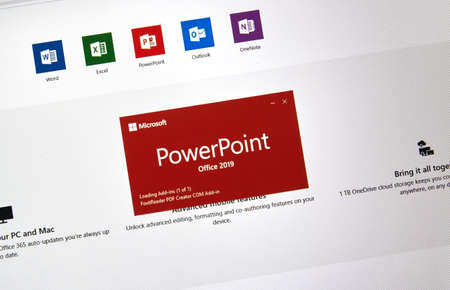 MONTREAL, CANADA - JANUARY 10, 2019: MIcrosoft PowerPoint 2019. Microsoft Office 2019 is the new version of Microsoft Office, a productivity suite, succeeding Office 2016