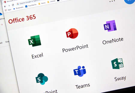 MONTREAL, CANADA - FEBRUARY 28, 2019: Microsofrt Office 365 new icons on a PC screen. Office 365 is the brand name Microsoft uses for a group of subscriptions that provide productivity software