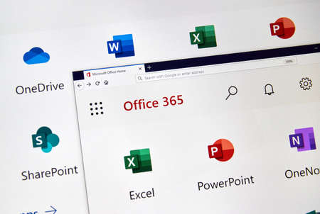 MONTREAL, CANADA - FEBRUARY 28, 2019: Microsofrt Office 365 new icons on a PC screen. Office 365 is the brand name Microsoft uses for a group of subscriptions that provide productivity software Stock Photo - 118751034