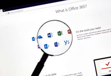 MONTREAL, CANADA - FEBRUARY 28, 2019: MIcrosoft Office 365 icons on a PC screen. Office 365 is the brand name Microsoft uses for a group of subscriptions that provide productivity software