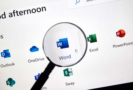 MONTREAL, CANADA - FEBRUARY 28, 2019: Microsoft Word new icon. Office 365 is the brand name Microsoft uses for a group of subscriptions that provide productivity software and related services.