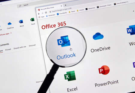 MONTREAL, CANADA - FEBRUARY 28, 2019: Microsoft Outlook new icon. Office 365 is the brand name Microsoft uses for a group of subscriptions that provide productivity software and related services. Sajtókép