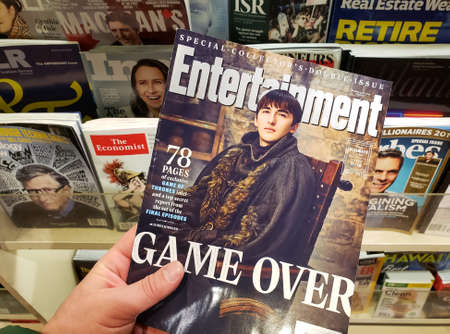 MONTREAL, CANADA - MARCH 28, 2019: Entertainment Weekly Special collectors double issue. Game Over - Game of Thrones speciall issue with Bran Stark on the front cover.