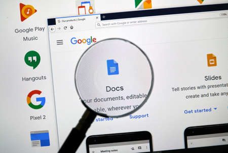 MONTREAL, CANADA - APRIL 26, 2019: Google Docs logo and app on a home page. Google is an American multinational technology company that specializes on Internet services and products.