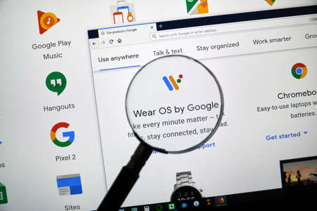 MONTREAL, CANADA - APRIL 26, 2019: Wear OS by Google logo and app on a home page. Google is an American multinational technology company that specializes on Internet services and products.