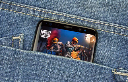 MONTREAL, CANADA - December 23, 2018: PUBG mobile android on Samsung s8 screen. PlayerUnknowns Battleground Mobile is the mobile version of the popular PC console battle royale-style shooter game Sajtókép