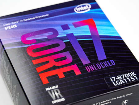 MONTREAL, CANADA - DECEMBER 8, 2018: Intel logo of i7 8th generation CPU on an original intel processsor box. Intel is an American multinational corporation and technology company headquartered in USA Redakční