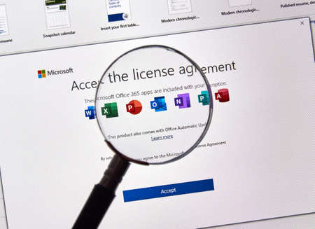MONTREAL, CANADA - JULY 13, 2019: MIcrosoft Office 365 License Agreement on a PC screen. Office 365 are subscription services offered by Microsoft as part of the Microsoft Office product suite