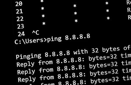 ping network test command on a screen, close up