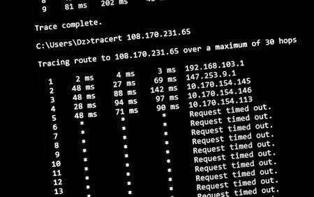 traceroute network test command on a screen, close up