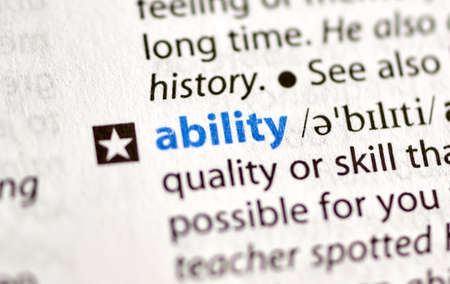 MONTREAL, CANADA - JULY 17, 2019: word ability in a dictionay with meaning. Close-up and selective focus.