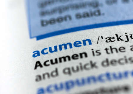 MONTREAL, CANADA - JULY 17, 2019: word acumen in a dictionay with meaning. Close-up and selective focus.
