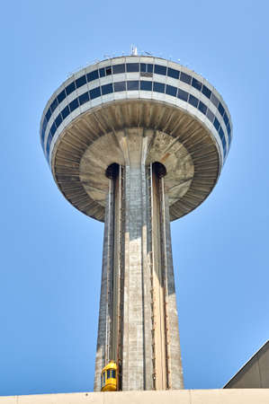 NIAGARA FALLS, CANADA - JULY 25, 2019: Skylon Tower on summer day at Niagara Falls, ON. Skylon Tower is an observation tower featuring sweeping vistas of Niagara Falls, arcade and revolving restaurant