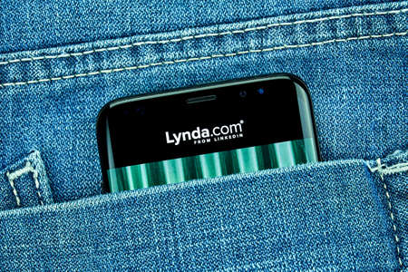 MONTREAL, CANADA - December 23, 2018: Lynda.com android app on Samsung s8 screen. Lynda is LinkedIn Learning American website offering video courses taught by industry experts in software